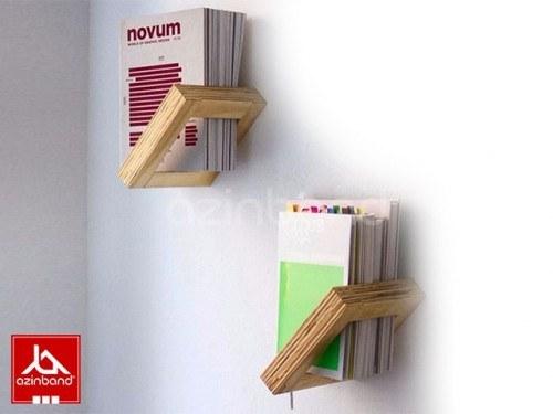شلف قفسه کتابخانه | شلف دیواری با چوب درختان میوه یا جنگلی