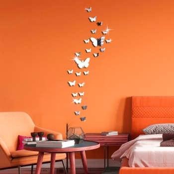 استیکر دیواری پدیده شاپ طرح پروانه مجموعه 24 عددی |