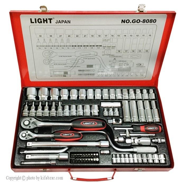مجموعه 80 عددی آچار بکس لایت مدل GO-8080 | LIGHT GO-8080 80Pcs Socket Set 6Pt