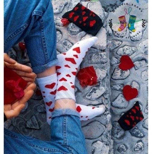 جوراب دخترانه قلبی سفید