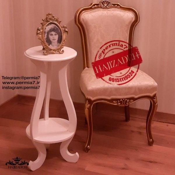 main images نگین میز  تلفن چوبی ساده سفید   80901
