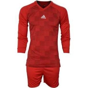 ست پیراهن و شورت ورزشی مردانه طرح دروازبانی فوتبال مدل A03 رنگ قرمز |