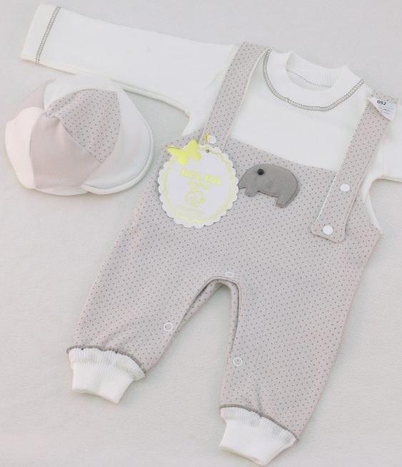 سرهمی نوزادی سه تیکه پیش بندی هلما مدل فیل |