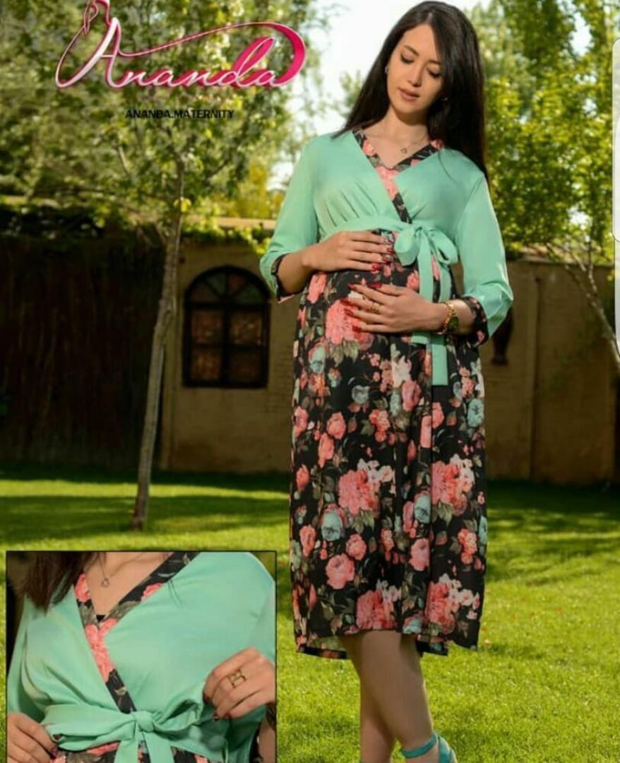 پیراهن بارداری پامچال سبز کد 00040050000013
