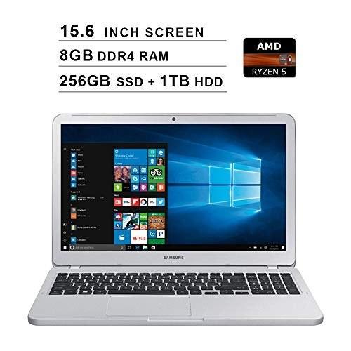 تصویر نوت بوک سامسونگ 2019 پرمیوم 5 15.6 اینچ FHD لپ تاپ (AMD Ryzen 5 2500U تا 3.6 گیگاهرتز ، AMD Radeon Vega 8 ، 8 GB RAM ، 256 GB SSD 1TB HDD ، بلوتوث ، HDMI ، ویندوز 10) Samsung 2019 Premium Notebook 5 15.6 Inch FHD Laptop (AMD Ryzen 5 2500U up to 3.6GHz, AMD Radeon Vega 8, 8GB RAM, 256GB SSD + 1TB HDD, Bluetooth, HDMI, Windows 10)