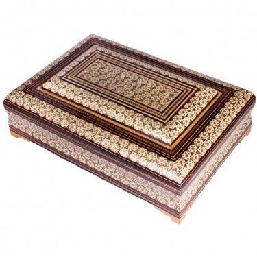 تصویر جعبه قرآن خاتم کاری 22×32 سانتیمتری