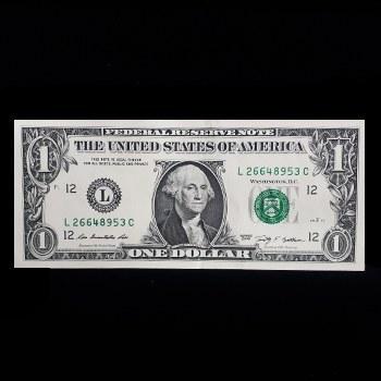 تصویر اسکناس 1 دلار آمریکا 2009 تک