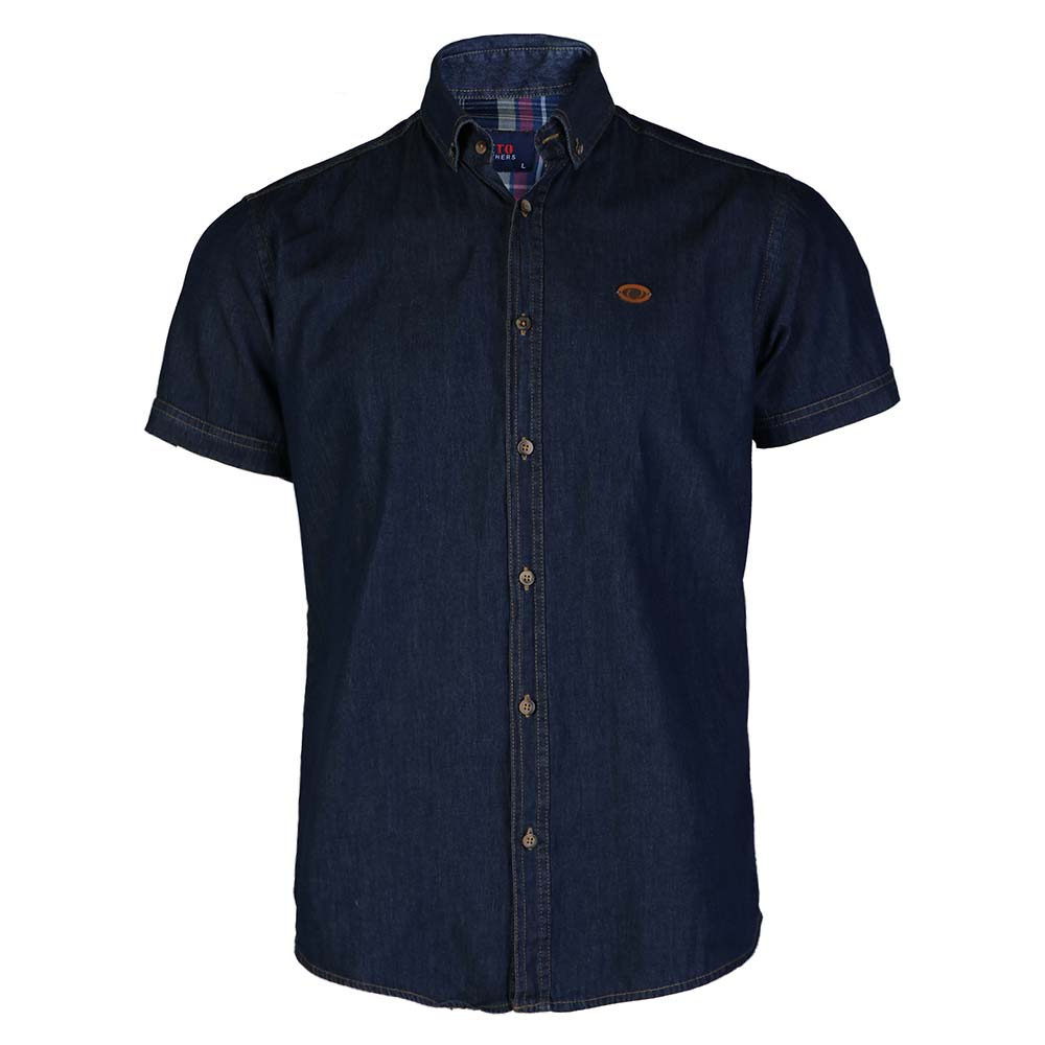 تصویر پیراهن مردانه ساده لی سرمه ای