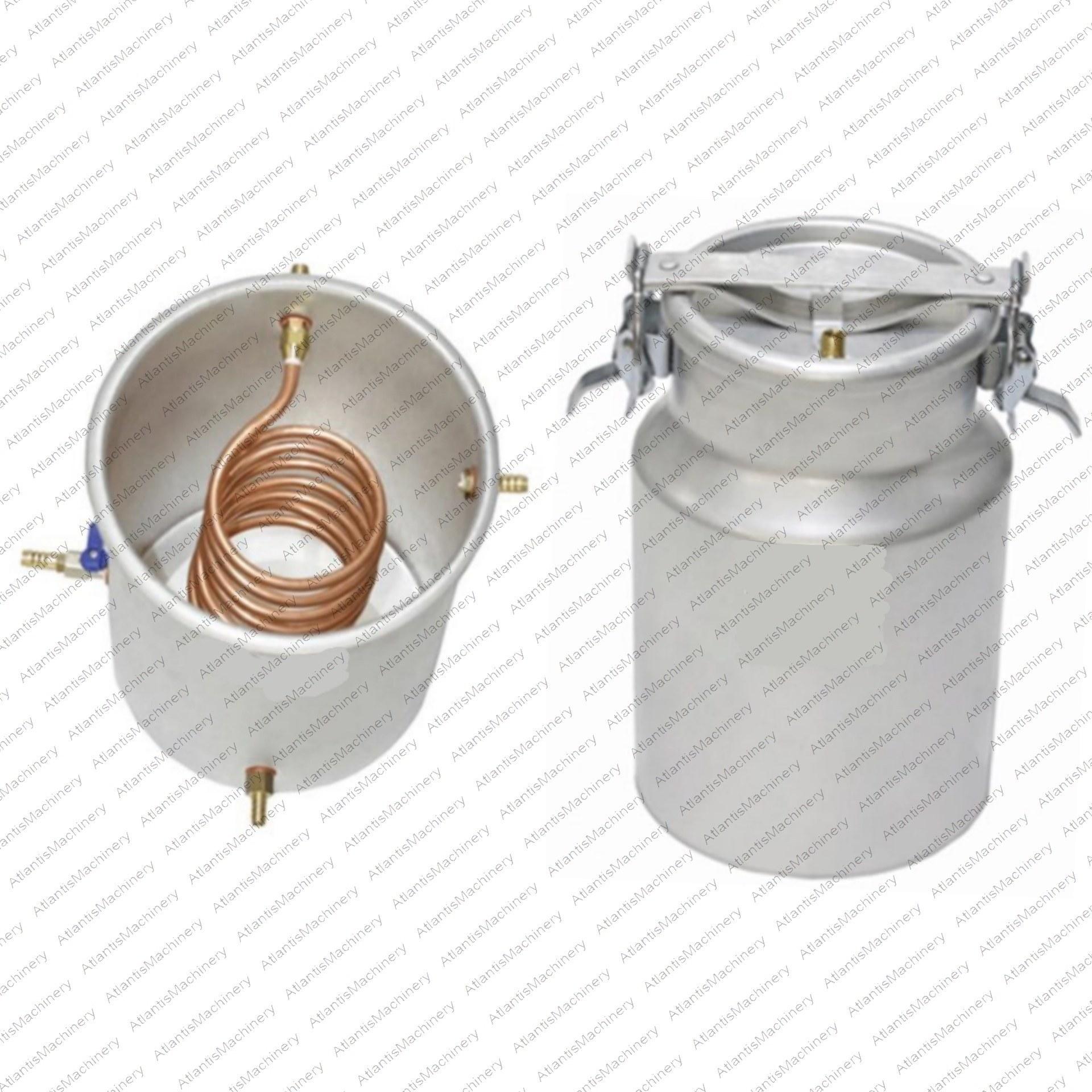 تصویر دستگاه تقطیر(عرق گیر/گلاب گیر) 10 لیتری با کندانسور(خنک کننده) آبی مسی