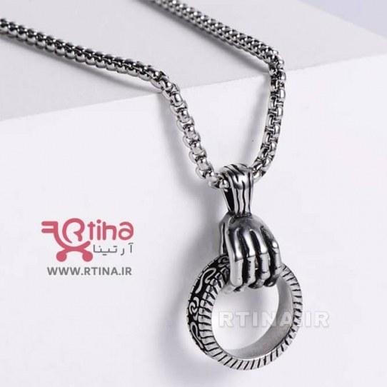 تصویر گردنبند استیل طرح اسکلت دست (پسرانه و دخترانه)
