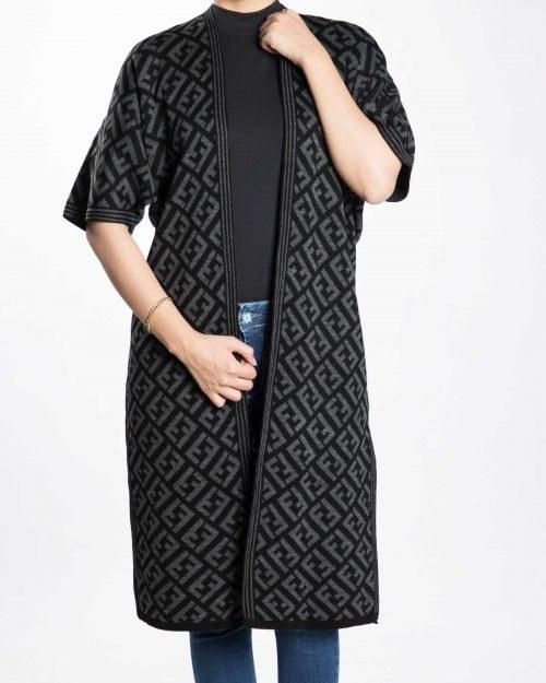 ژاکت بافت زنانه بلند طرح دار