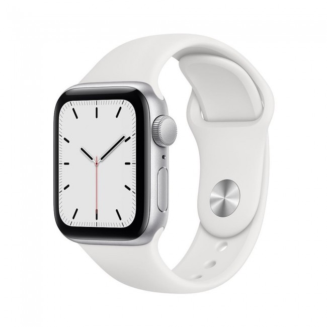 تصویر اپل واچ SE آلومینیوم نقره ای با بند اسپرت سیلیکون سفید