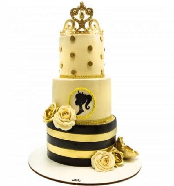 کیک عروسی تاج طلایی |