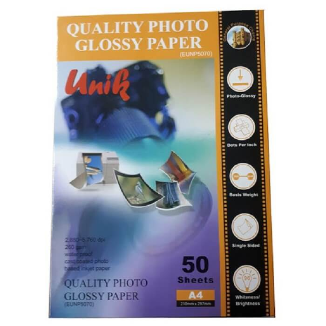 تصویر کاغذ فتو گلاسه براق 260 گرم یونیک سایز A4