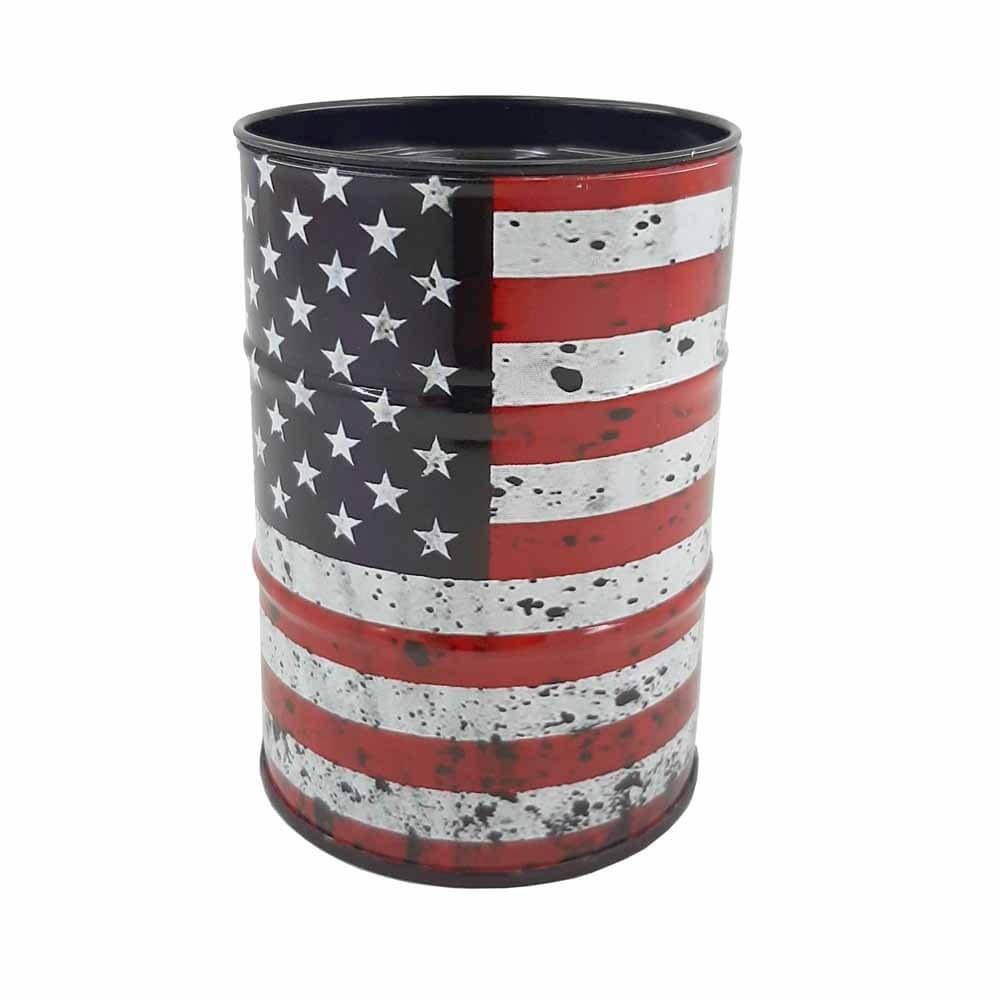 تصویر زیر سیگاری بشکه طرح  United States flag