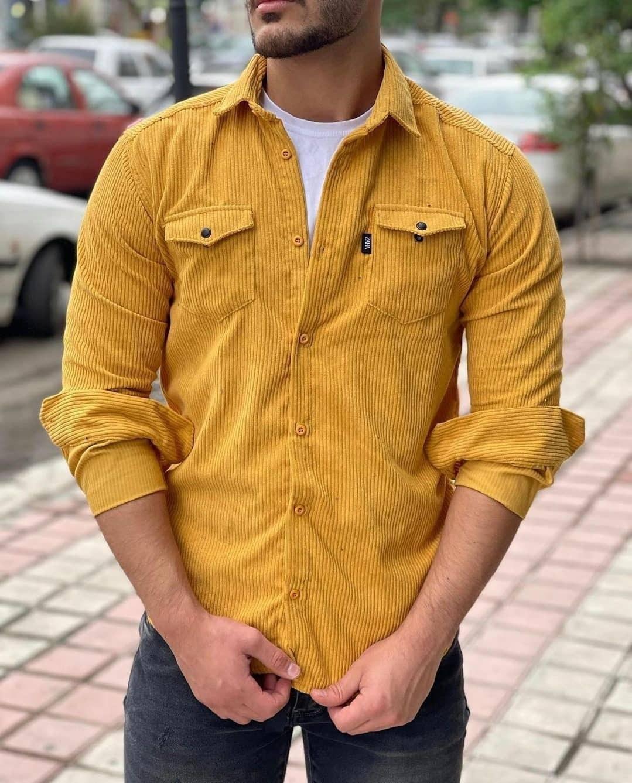 تصویر پیراهن زرد مخمل کبریتی کد ۴۳۰ - XXL