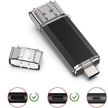 تصویر Sanfeya Flash Drive 128GB USB C USB Flash Drive Dual Type C USB 3.0 OTG با Keychain برای لپ تاپ رایانه های شخصی PDA تبلت سامسونگ