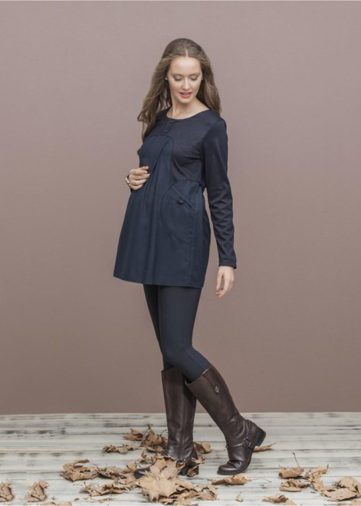 تصویر بلوز زنانه آستین بلند طرحدار جیبدار سرمه ای برند Even Fashion Hamile Giyim کد 1619171941
