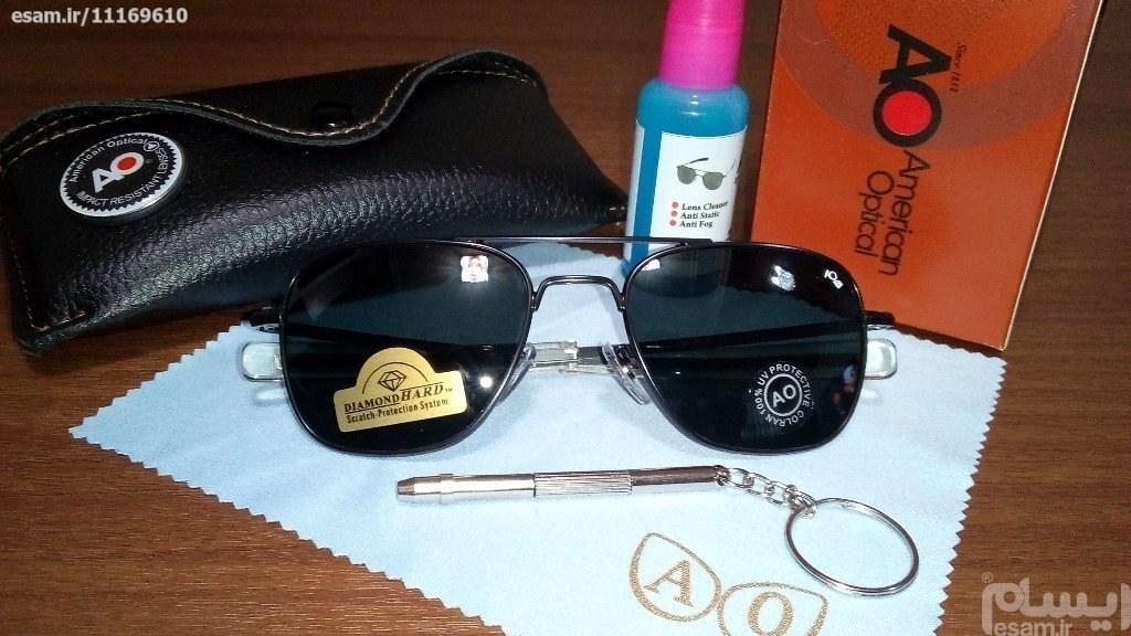 عینک خلبانی AO (تحت لیسانس امریکا) نایابترین رنگ   بهترین کیفیت وقیمت موجود در بازار (شیشه سنگی با حک لیزری AO ) انحصاری فرم مشکی شیشه مشکی آنتی رفلکس