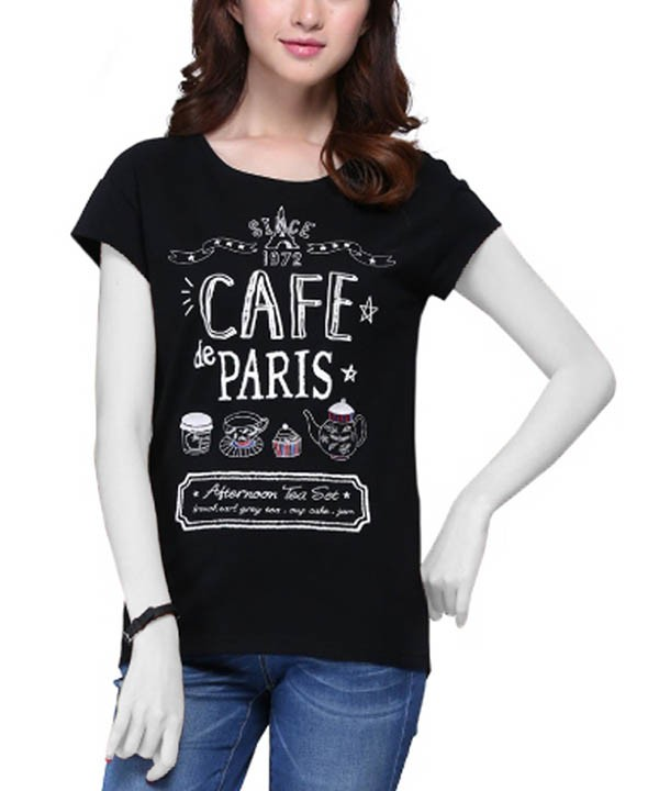 تی شرت طرح دار زنانه جین وست