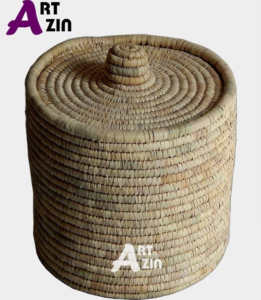 تصویر جا برنجی یا سبد سیب زمینی پیاز حصیری درب دار -  کد: 1-229