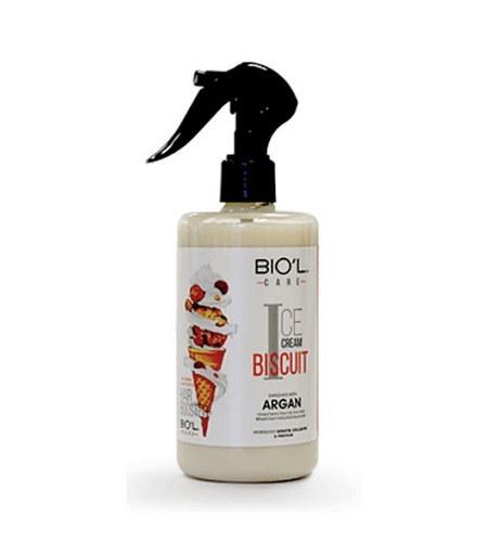 تصویر اسپری تقویت کننده و مرطوب کننده مو بیول حاوی عصاره بستنی بیسکوییتی حجم 400 میل Biol Hair Lotion Ice Cream Biscuit 400ml