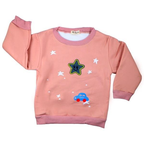 تی شرت آستین بلند تو کرکی Rurubei طرح ستاره گلبهی