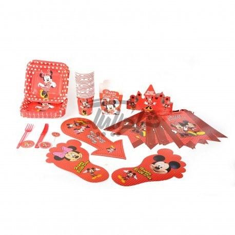 تصویر تم تولد مشترک میکی و مینی موس Mickey & Mini Mouse درنگ قرمز با خال سفید در مجموعه های 153 تیکه-318 تیکه-482 تیکه