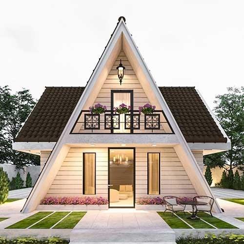 تصویر طراحی ویلا با سقف شیبدار
