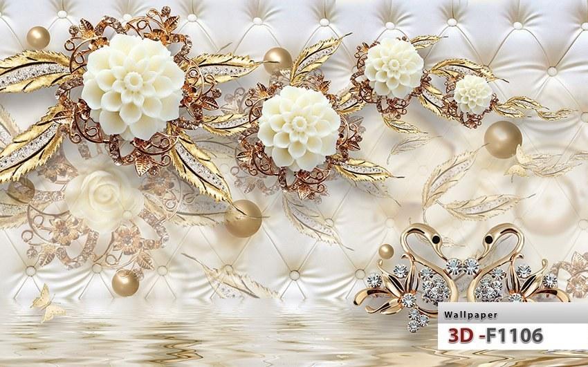 تصویر کاغذ دیواری سه بعدی گل طلایی کد F1106