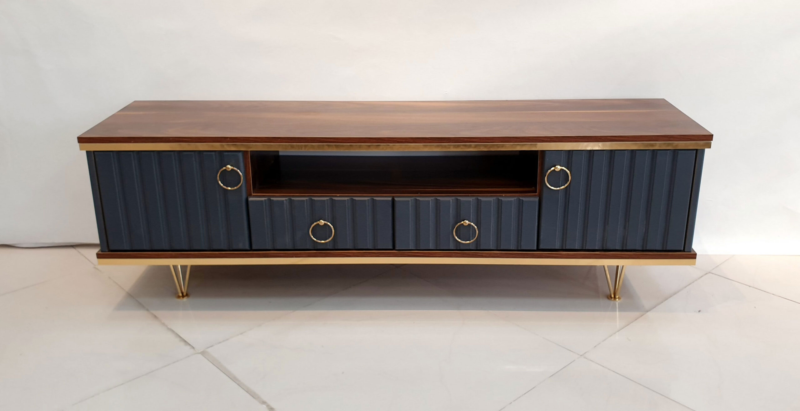 تصویر میز تلویزیون - مدل درسا قهوه ای طوسی