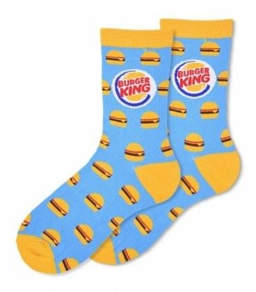 جوراب ساقدار Ekmen طرح برگر Burger King آبی |