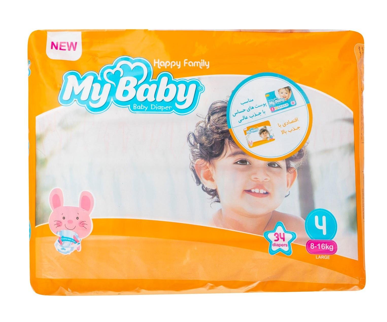 تصویر پوشک سری خانواده شاد سایز 4 مای بیبی - بسته 34 عددی My Baby Happy Family Baby Diaper - Size 4 Pack of 34