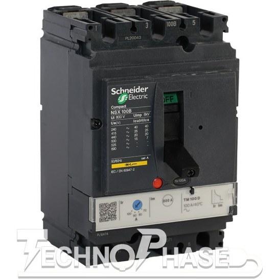 تصویر کلید اتوماتیک کمپکت 63 آمپر قابل تنظیم حرارتي اشنایدر مدل NSX