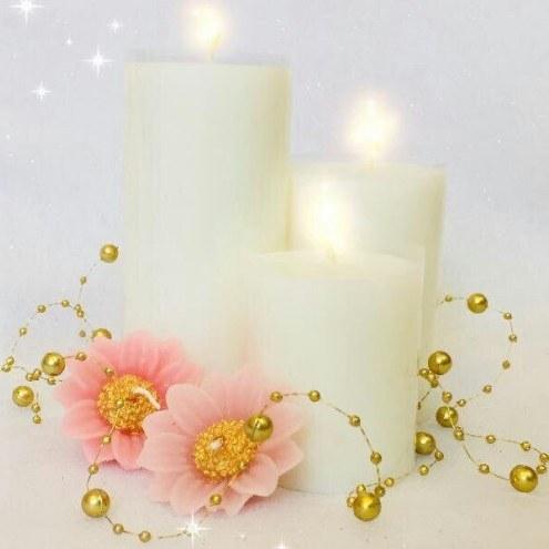 ست شمع سفید و گل |