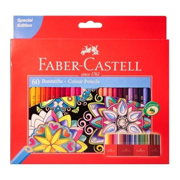 تصویر مداد رنگی 60 رنگ جعبه مقوایی فابرکاستل