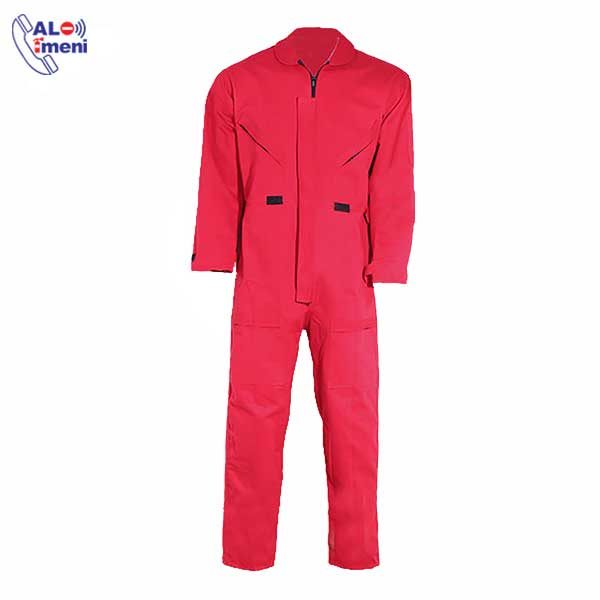 تصویر لباس کار یکسره آرگون قرمز | لباس جوشکاری