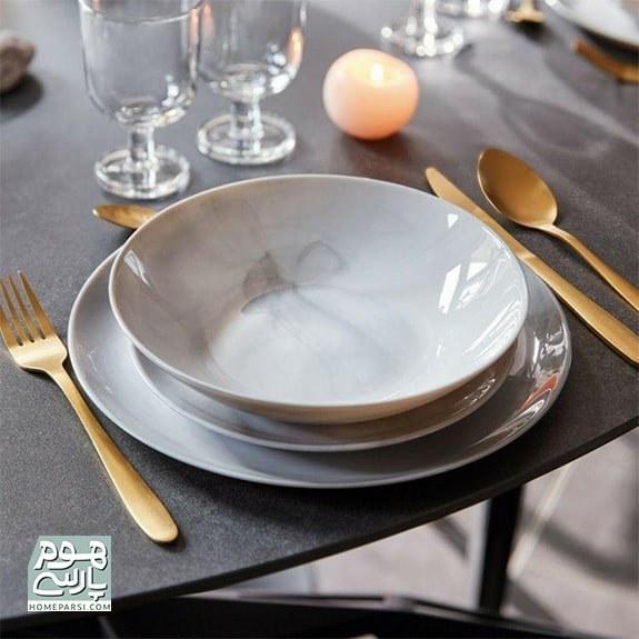 تصویر سرویس غذا خوری 25 پارچه آرکوپال لومینارک مدل دیوالی طرح ماربل