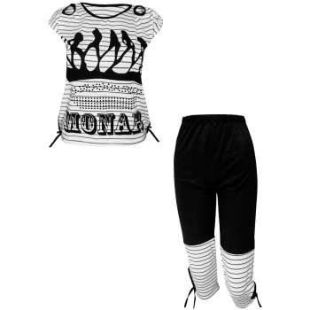 ست تی شرت و شلوارک زنانه مدل Monar رنگ مشکی |