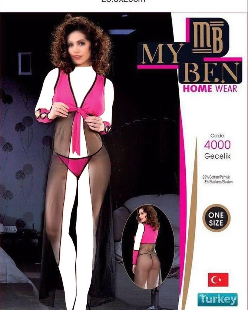 عکس لباس خواب بلند زنانه 4000 MyBen  لباس-خواب-بلند-زنانه-4000-myben