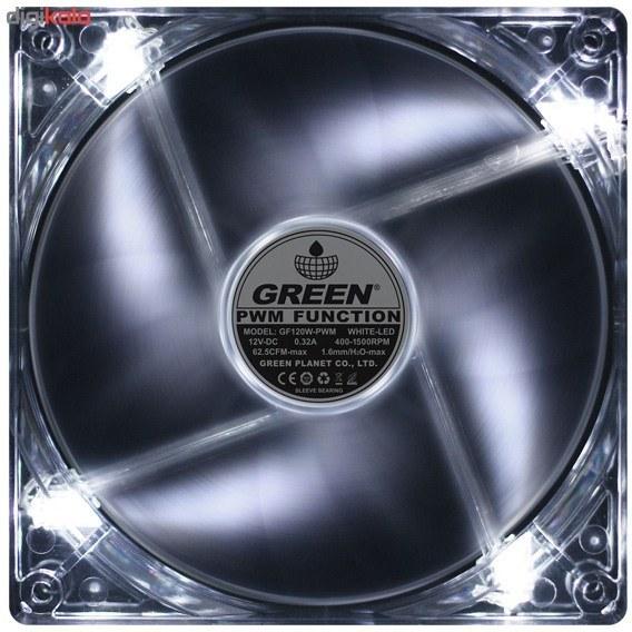 تصویر فن کیس گرین مدل جی اف 120 دابلیو فن کیس گرین GF120W-PWM 120mm Case Fan