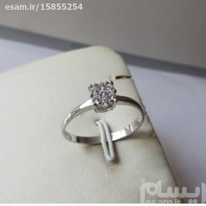 انگشتر  زنانه نقره سولیتر بسیار ظریف و زیبا بانگین های کوارتزسفید مدروز | انگشتر زنانه نقره سولیتر مجلسی تایلندی 1.29g