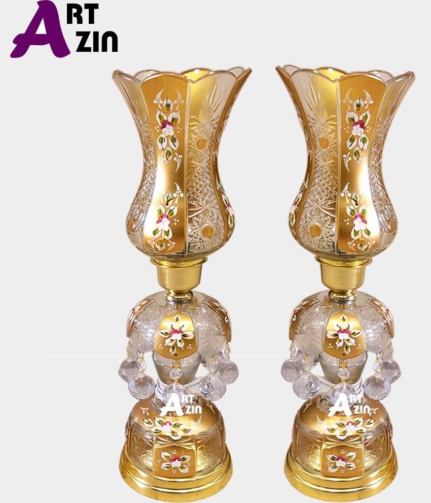 تصویر شمعدان لاله طرح ترک گل برجسته اکلیلی رومیزی جفت سایز کوچک -  کد: ۵۵۴