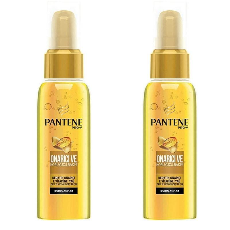 تصویر پک 2 عددی سرم مو کراتین  Pantene Pro-V مناسب موهای شکننده و آسیب دیده حجم 100 میلپنتن Pantene Repair & Protect Dry Oil with Vitamin E Serum 100 ml (x2)