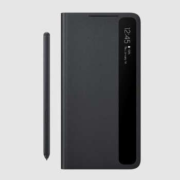 تصویر کیف کلاسوری سامسونگ با قلم مدل SMART CLEAR VIEW COVER EF-ZG99P مناسب برای گوشی موبایل سامسونگ GALAXY S21 Ultra 5G اصلی Samsung Galaxy S21 Ultra 5G Smart Clear View Cover with S Pen EF-ZG99P