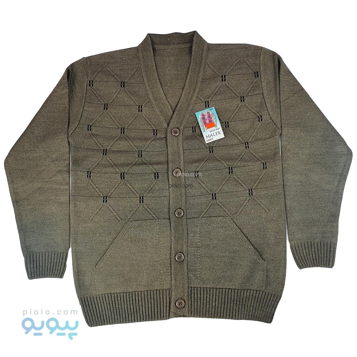 ژاکت دکمه دار و جیب دار مردانه ملک طرح لوزی