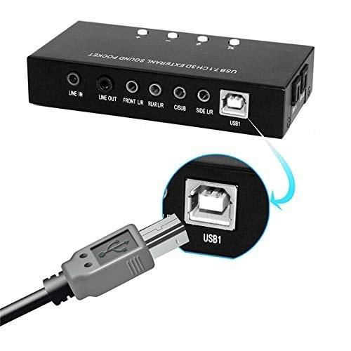 کارت صدای فراگیر Virtual Surround 7.1 Layopo ، دارای صدای صوتی دیجیتال SPDIF ، آداپتور کارت صدا USB صوتی برای رایانه / PS (سیاه)