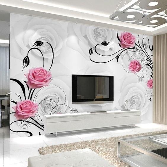تصویر کاغذ دیواری پشت تلویزیون طرح گل کد 1233