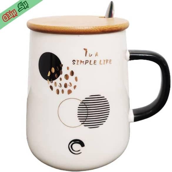 تصویر ماگ سرامیکی درب بامبو دسته مشکی کد 01 ا Ceramic Mug Bamboo code 05 Ceramic Mug Bamboo code 05