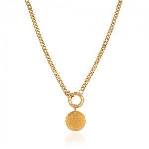 تصویر گردنبند طلا با زنجیر کارتیه و سکه چکشی کد CN303
